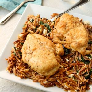 A simple and delicious one skillet chicken and orzo pasta dish for two. The ideal weeknight supper. You can have this on the table in less than 45 minutes.