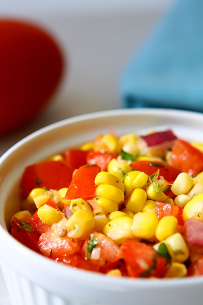 Fresh Corn Salsa. Nothing beats the great taste of fresh ingredients.This delicious corn salsa is great on its own with chips, but also fantastic in wraps and burritos. | www.heavenlyhomecooking.com