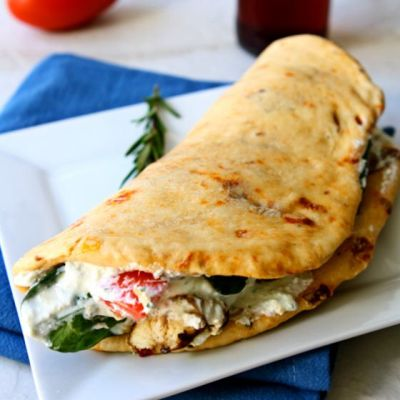 Grilled Chicken Gyros with Sun-Dried Tomato Pita Bread and Whipped Feta Spread