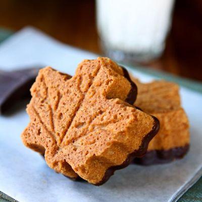 Maple Shortbread Cookies Dipped in Dark Chocolate