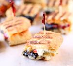Portobello Panini Bites | Irresistible panini bites featuring portobello mushrooms, fontina cheese, roasted red peppers and a garlic rosemary mayo. Serve them with a delicious basil mayo dressing. | heavenlyhomecooking.com