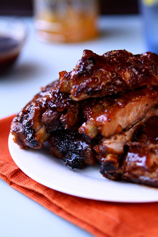 Sweet & Sour Sticky Ribs | Amazing orange sweet and sour sauce slathered over meaty St. Louis style ribs and caramelized over high heat. Pure bliss! | www.heavenlyhomecooking.com