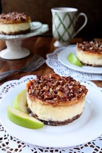Apple Pecan Cheesecake   Creamy and delicious individual cheesecakes topped with cinnamon, apples and pecans   heavenlyhomecooking.com