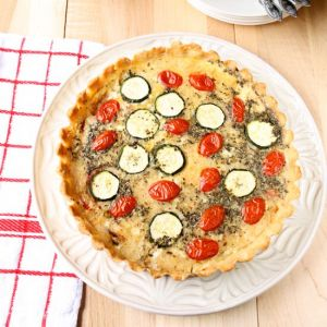 Quiche Provencale | Flavorful quiche featuring zucchini, tomatoes, Parmesan cheese and herbes de Provence. This beautiful quiche is both nutritious and delicious! | heavenlyhomecooking.com