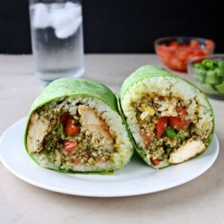 Pesto Grilled Chicken Wraps | You'll be amazed at how delicious, flavor-packed and easy these pesto grilled chicken wraps are! This is sure to become one of your go-to recipes for lunch. | heavenlyhomecooking.com