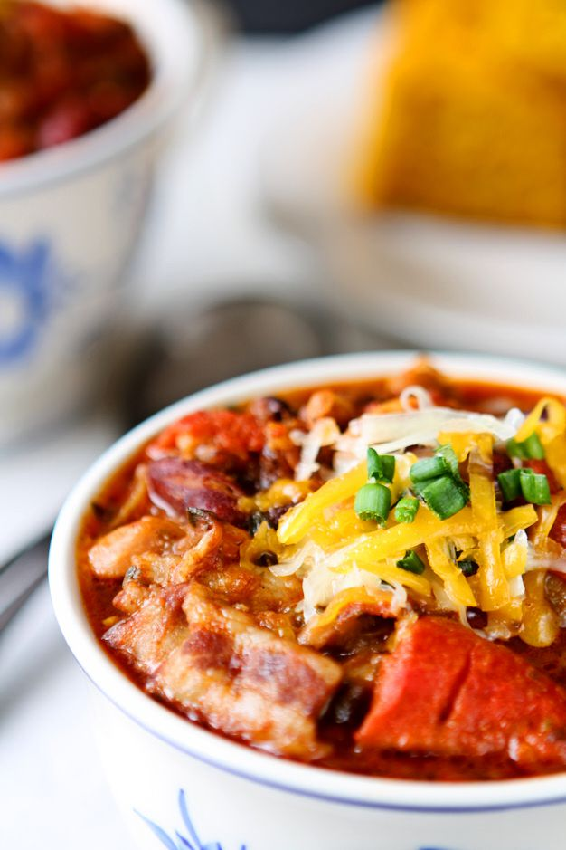 Three Bean Chili with Bacon | You will love this colorful, delicious and healthy three bean chili. Roasted bell peppers and bacon add an extra flavor kick. | heavenlyhomecooking.com
