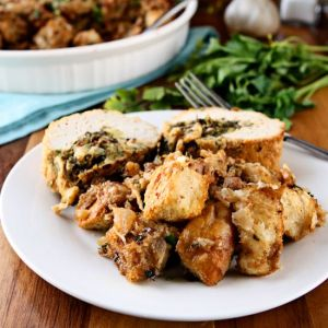Sourdough Stuffing | Sourdough bread forms the base of this delicious stuffing flavored with turkey sausage, fresh parsley, fresh thyme and Parmesan cheese. Chopped walnuts add texture. It is a worthy Thanksgiving side dish that is also fantastic any time of year! | heavenlyhomecooking.com