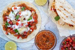 Grilled Fish Tacos with Roasted Tomato Salsa   Fresh and delicious grilled fish tacos with roasted tomatoes and red onions, finished off with homemade Pico de Gallo. Superb!   www. heavenlyhomecooking.com