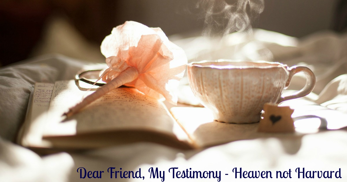 Dear Friend, My testimony - giving up changed everything.