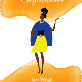 Blank Card   Congratulations  Soror Sister - Blue and Yellow