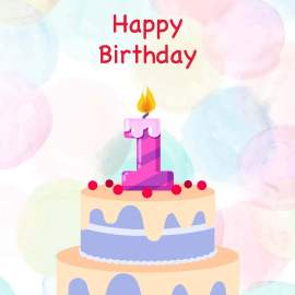 1st Birthday Cake Card