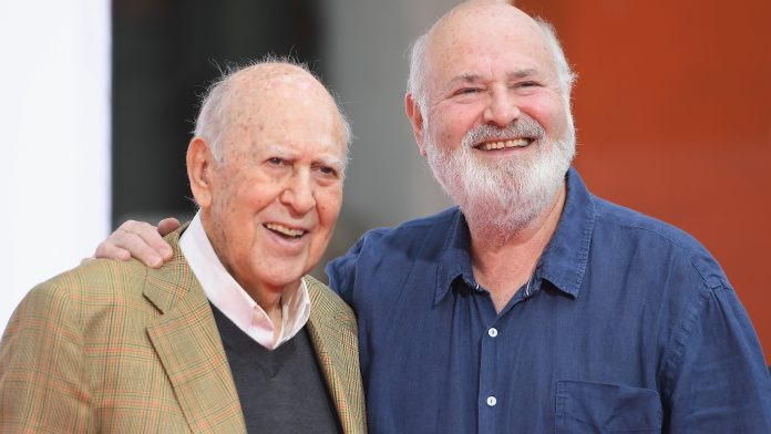 Honorees Carl Reiner (L) and Rob Reiner speak onstage during the Carl and Rob Reiner Hand and Footprint Ceremony during the 2017 TCM Classic Film Festival on April 7, 2017 in Los Angeles, California.