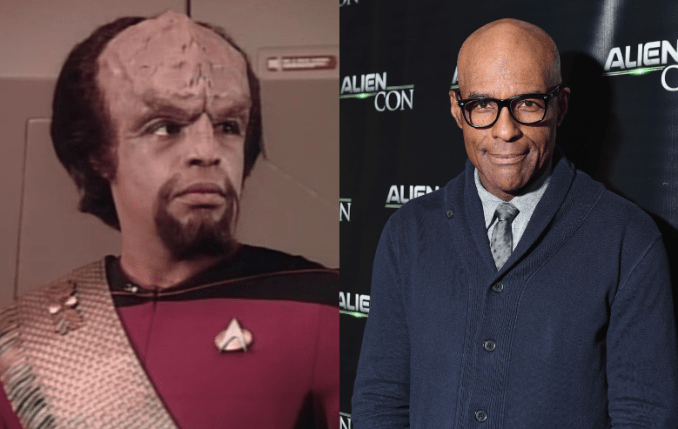 Michael Dorn as Worf on Star Trek The Next Generation and Michael Dorn at Alien Con