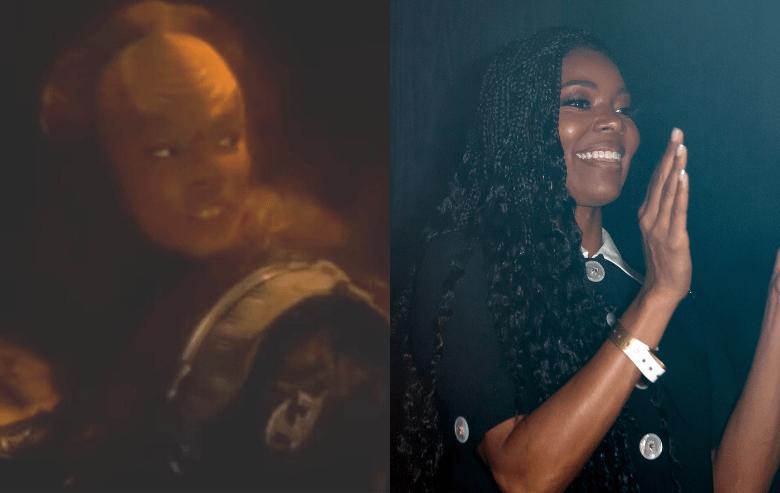 Gabrielle Union as N'Garen in Star Trek Deep Space Nine and Gabrielle Union at LYFE Brand event