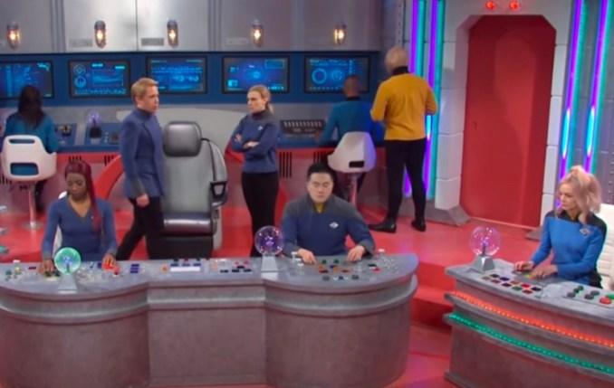 """Screenshot from an SNL """"Star Trek"""" Skit"""