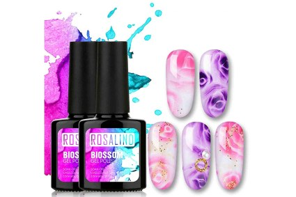 Two bottles of blossoming gel polish with swatches