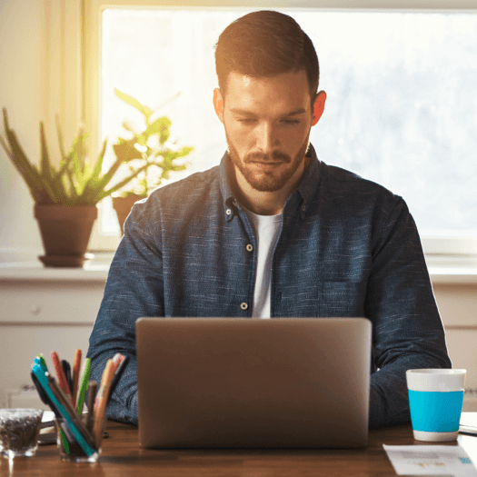 Entrepreneur working on computer.