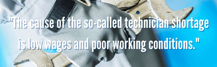 Text about the technician shortage and image of a wrench/