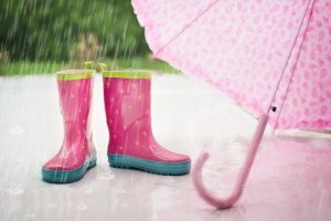 מגפים וורודים בגשם