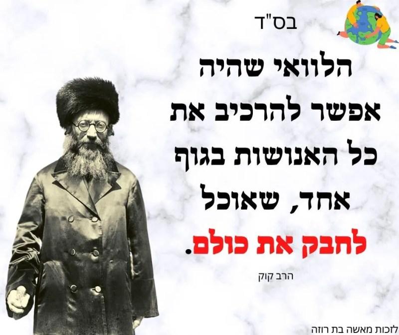 הרב קוק ציטוט על אהבת ישראל