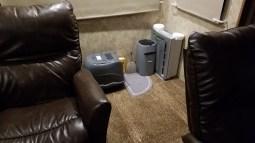 Feline Bathroom Setup, Behind Recliners