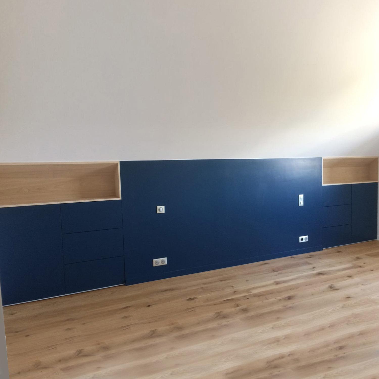 Tête de lit sur mesure, aménagement intérieur sur mesure, menuisier, agenceur, ébéniste, Vannes, Arzon, Morbihan, artisan, chambre