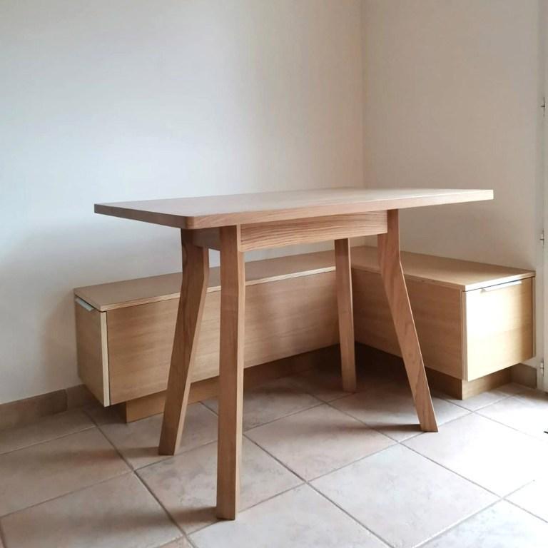 table à manger SUR MESURE, banc sur mesure, Menuisier, ébéniste, mobilier sur mesure, meuble sur mesure, Vannes, Morbihan, salle à manger design, table design