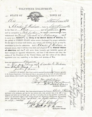 Charles Hebron's Enlistment Record (Front)