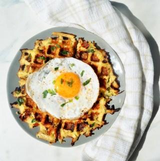 Cheesy Hash Brown Potato Waffles