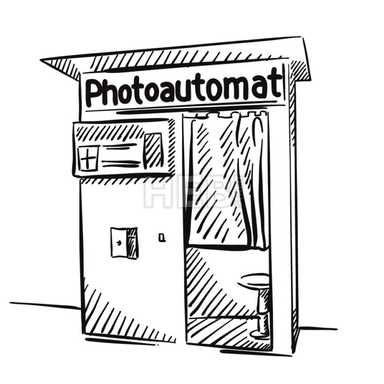 Berlin Photo Booth Black and White Sketched