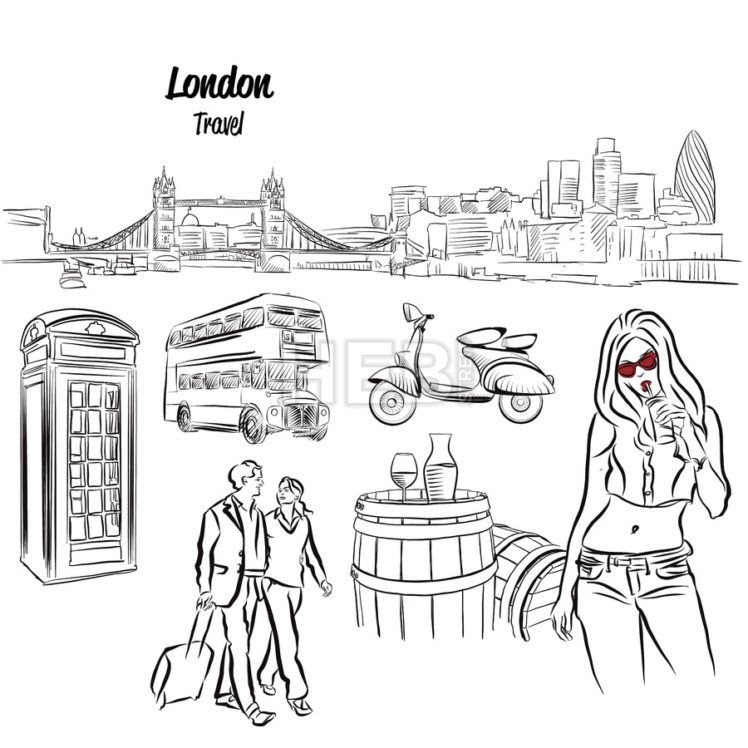 London Panorama and Travel Icons Sketches