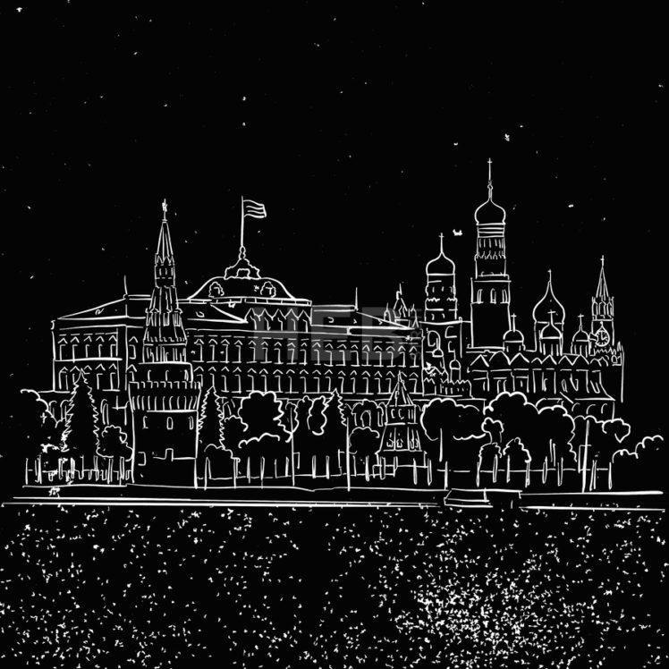 Moscow by Night Kremlin and Stars Sketch