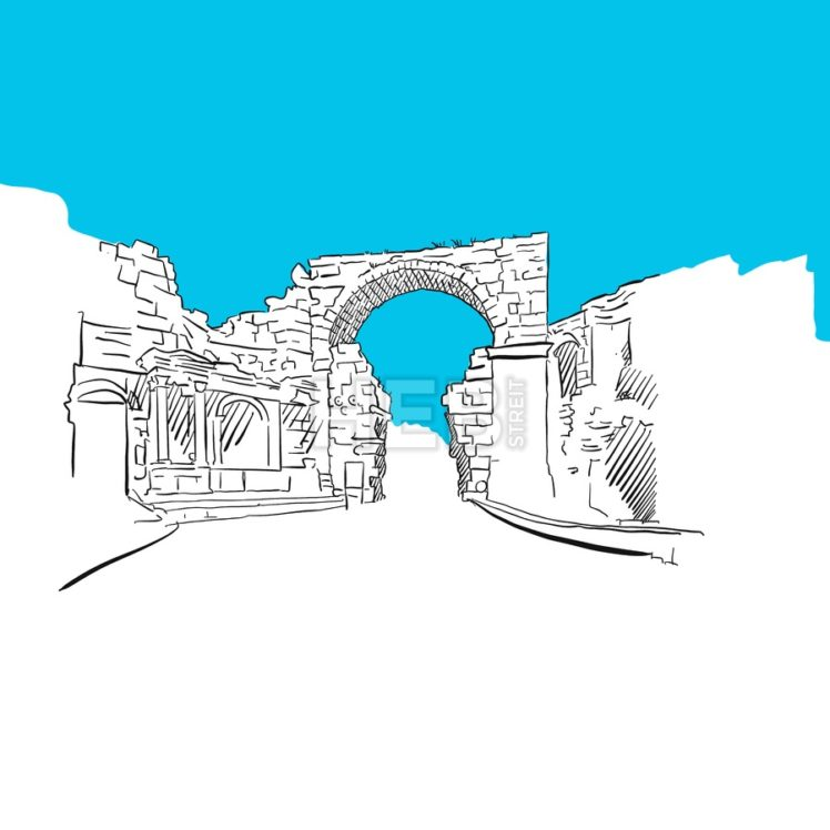 Side, turkey, old town gate, blue series