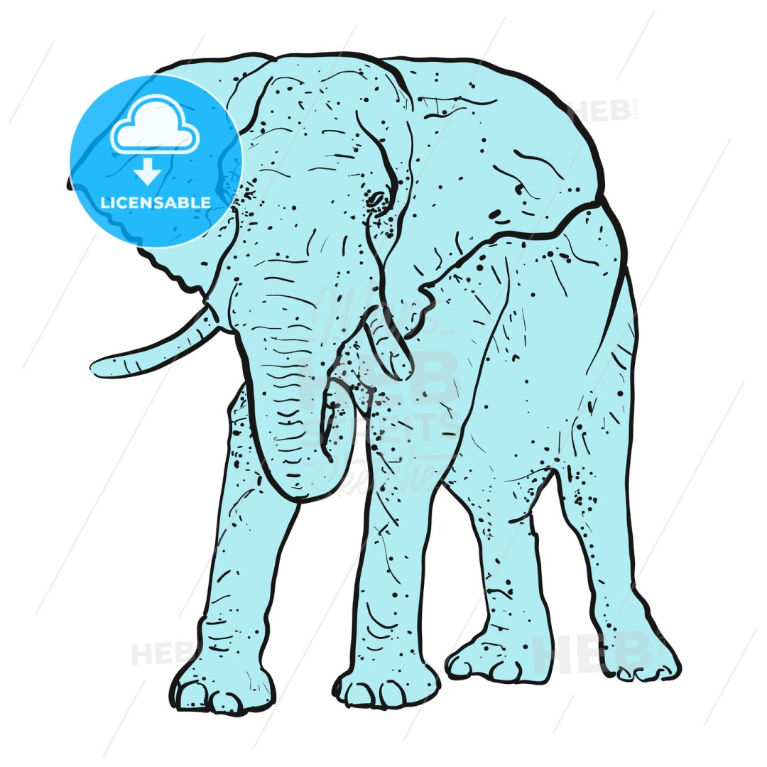 Elephant Outline dots colored blue