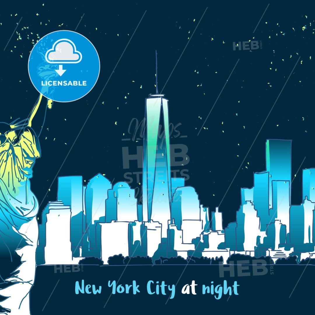 New York at Night with lady liberty