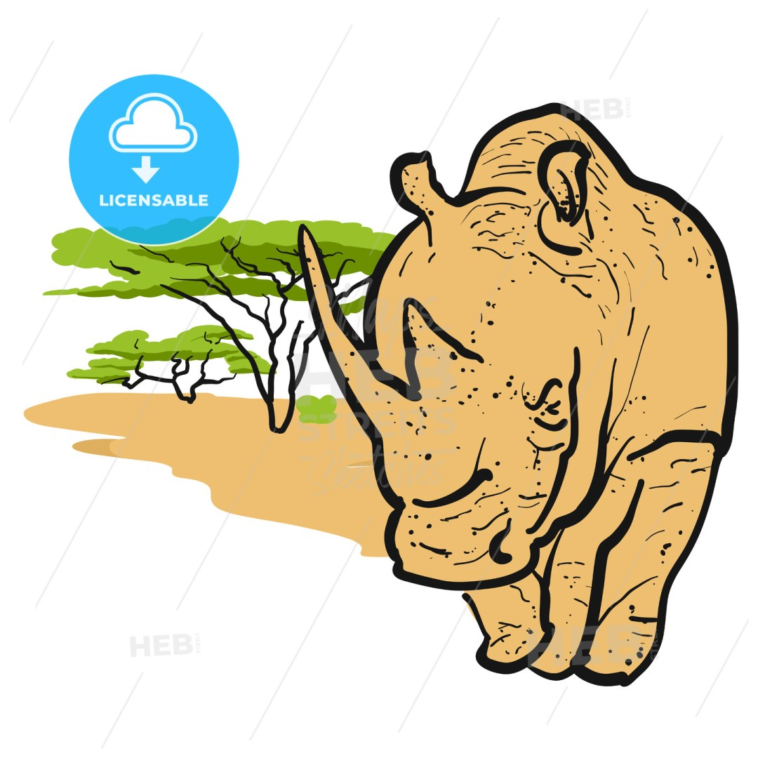 Rhino in savannah Card Design