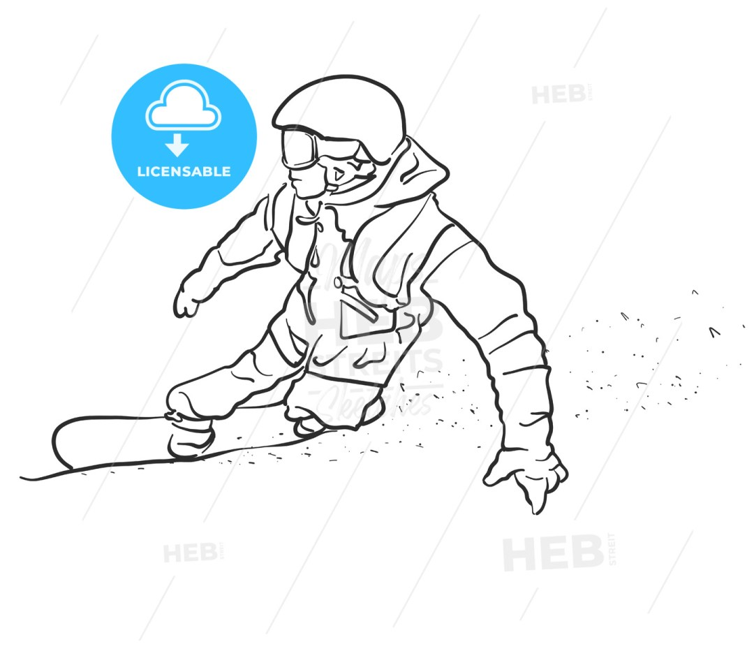 Freestyle Snowboarder takes Curve Sketch