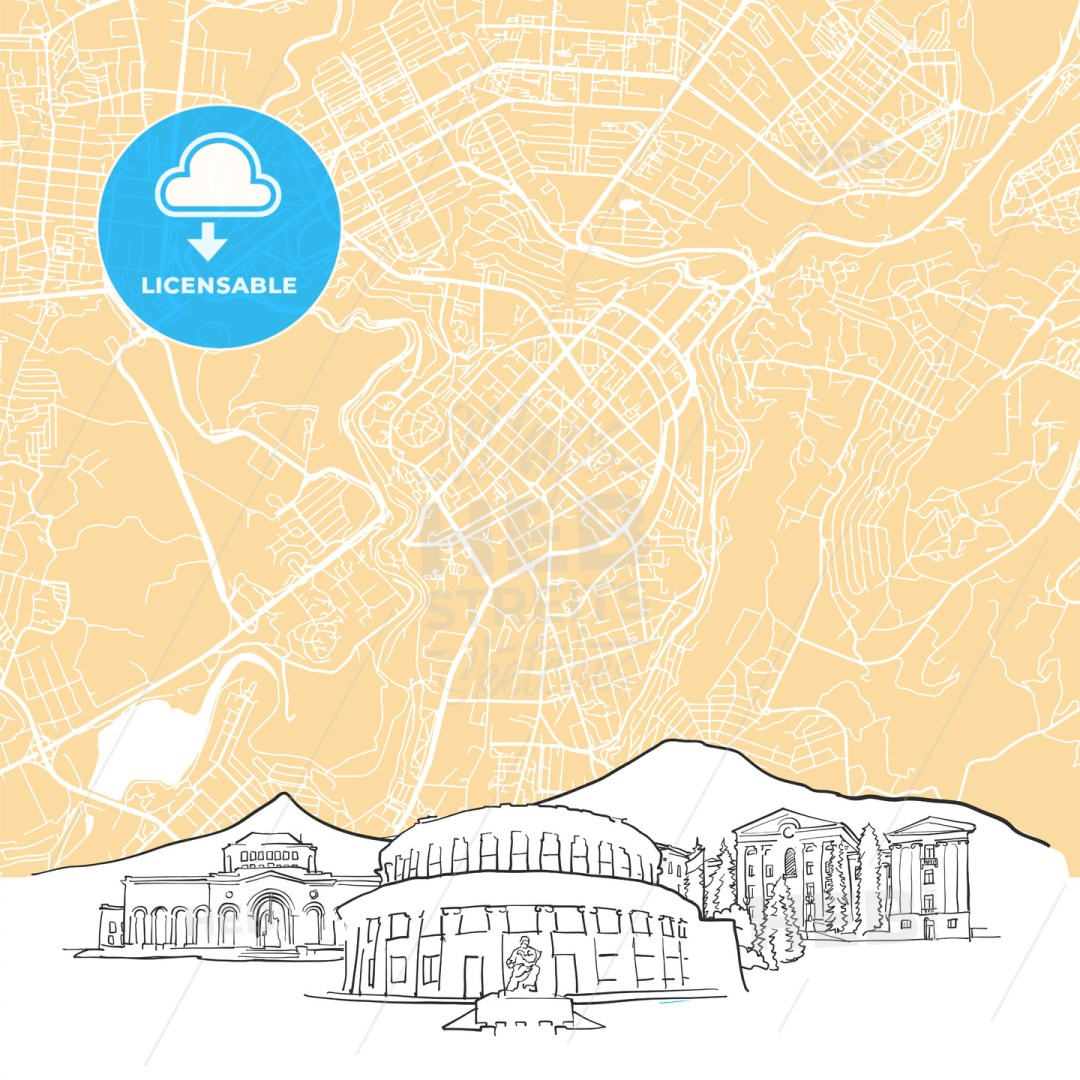 Yerevan Armenia Background Map