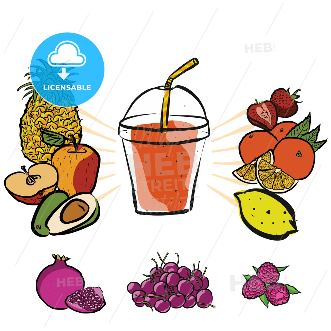 Fresh Summer Fruits and Smoothie to Go