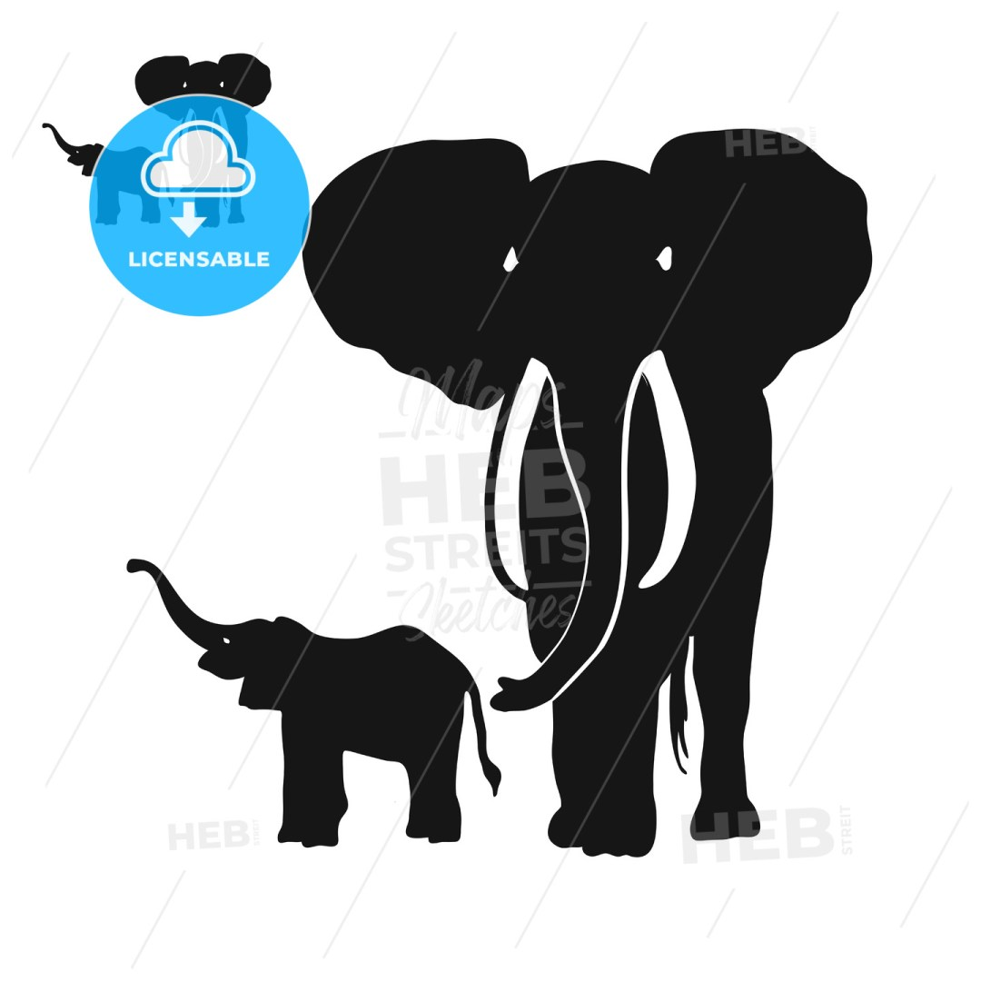 Two Elephants Silhouettes
