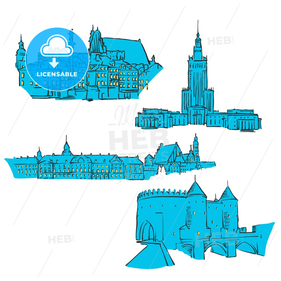 Warsaw, Poland, Colored Landmarks