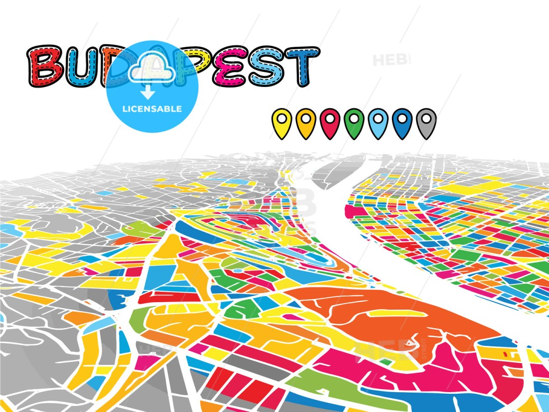 Budapest, Hungary, Downtown 3D Vector Map