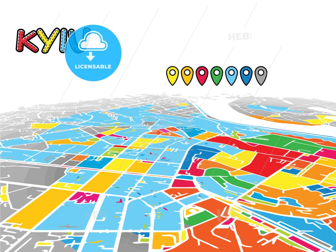 Kyiv, Ukraine, Downtown 3D Vector Map