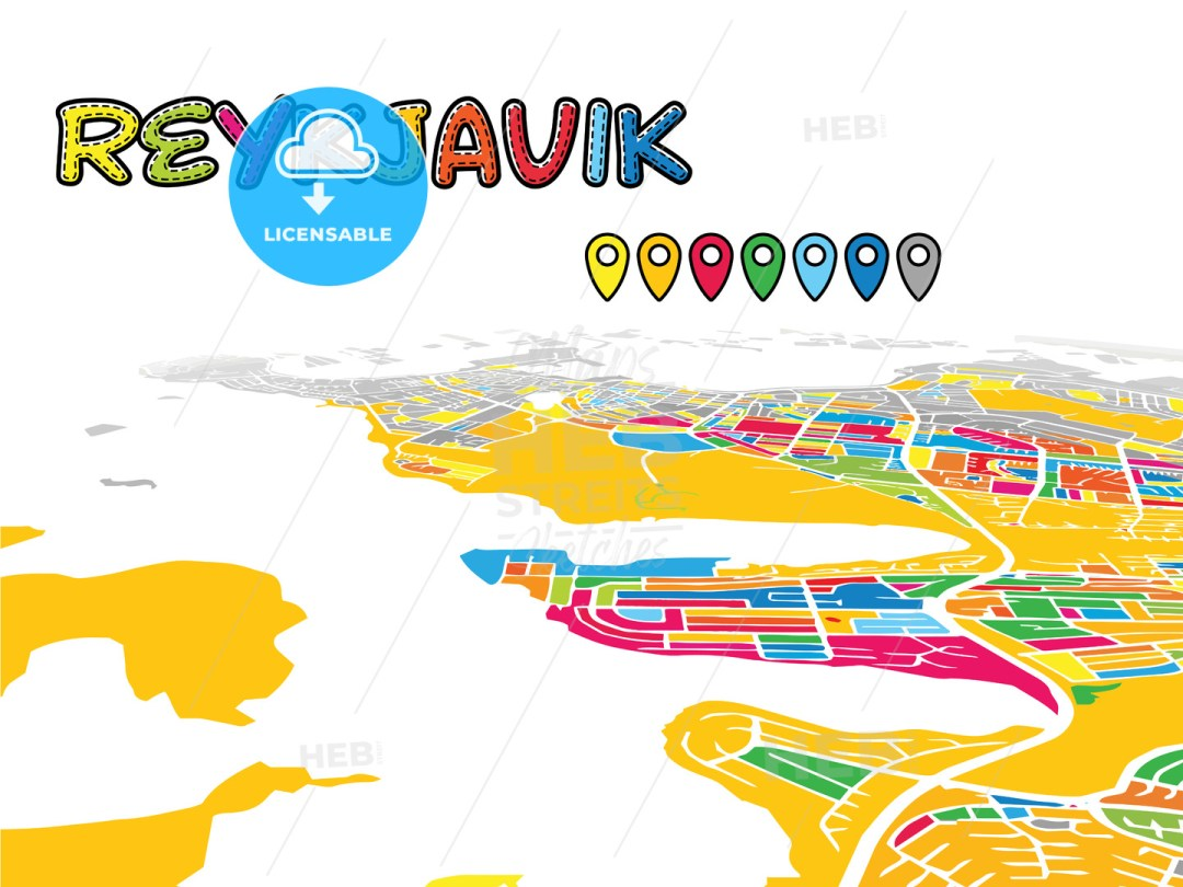 Reykjavik, Iceland, Downtown 3D Vector Map