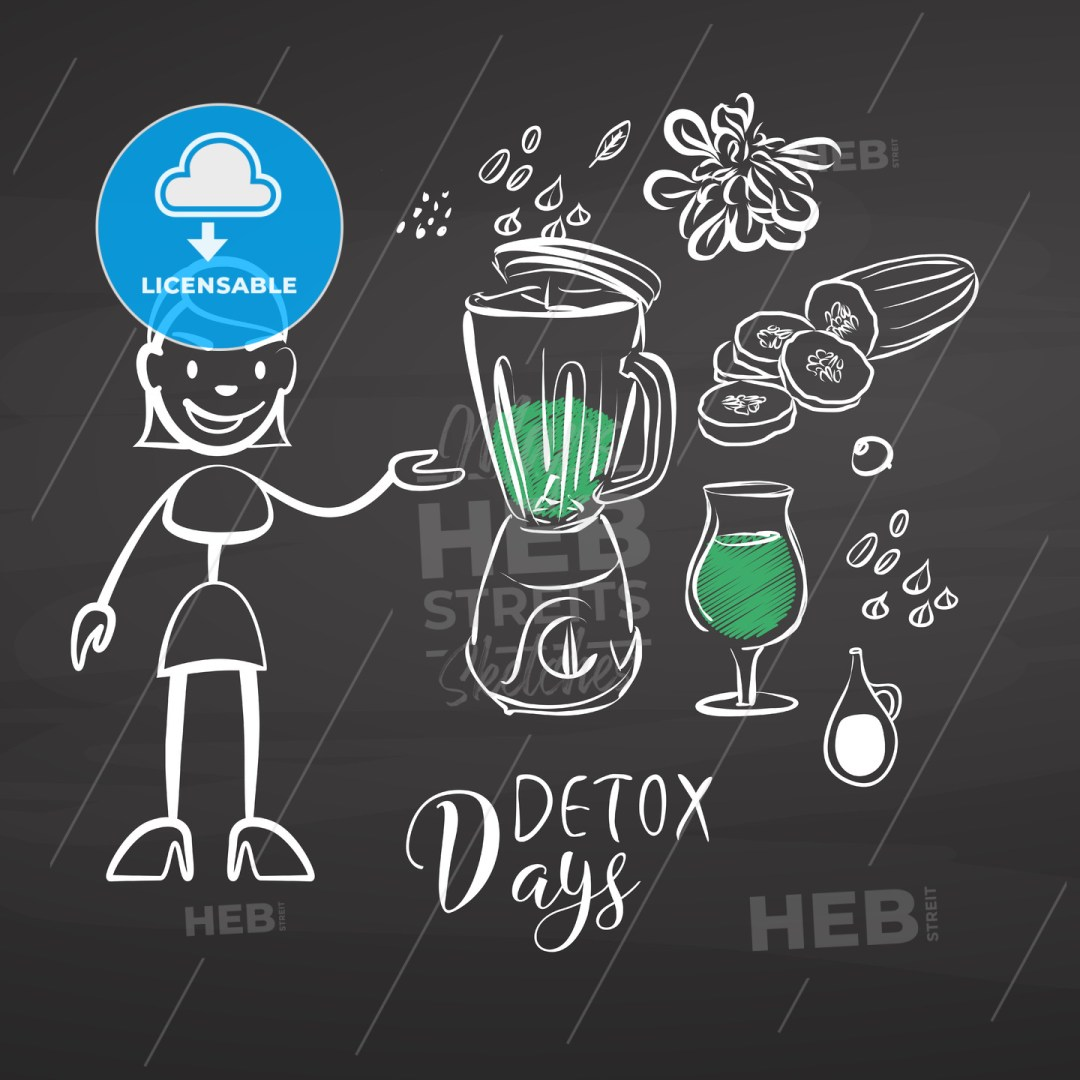 Hand-drawn detox vegetables on chalkboard
