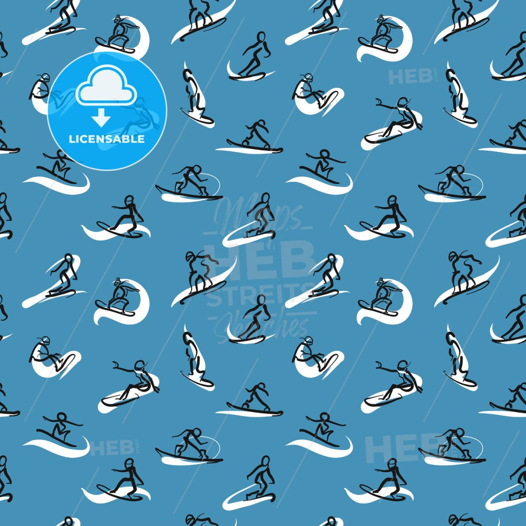 Hand drawn snowboarder icons, seamless pattern on colored backgound