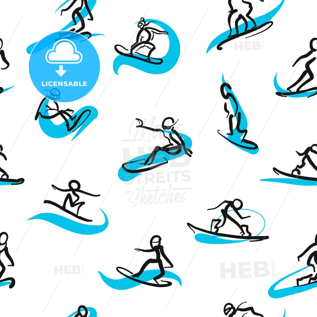 Hand drawn snowboarder icons, seamless pattern