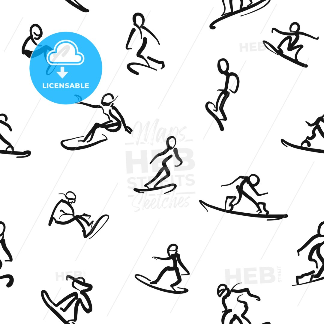 Snowboarding - Calligraphic seamless wall art