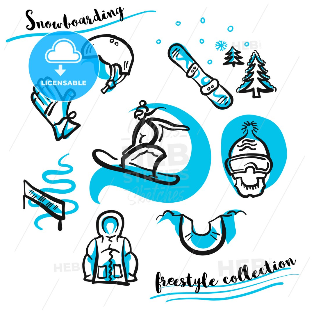 Snowboarding freestyle collection hand drawn set