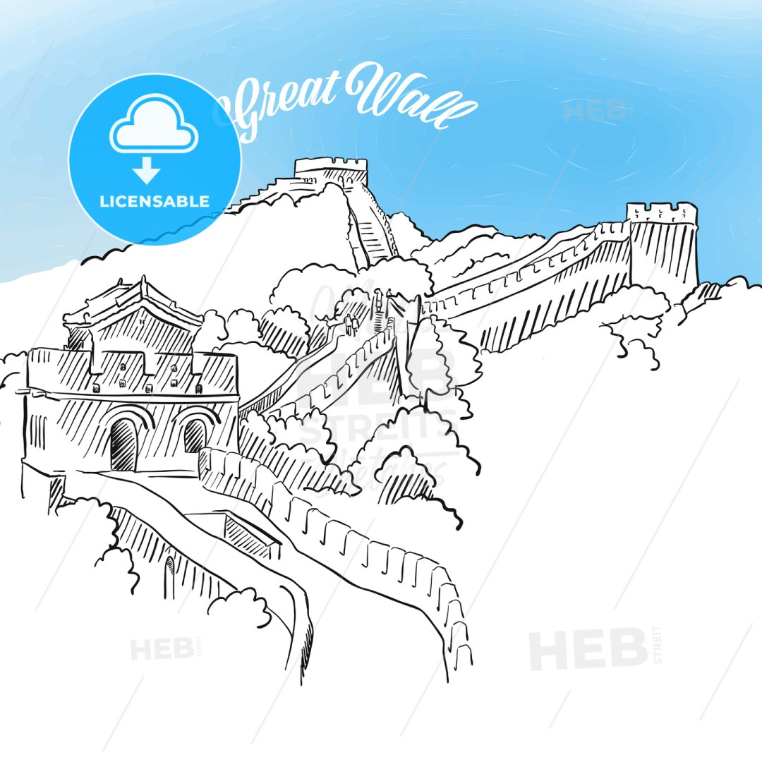 Sketch of Great Wall in China